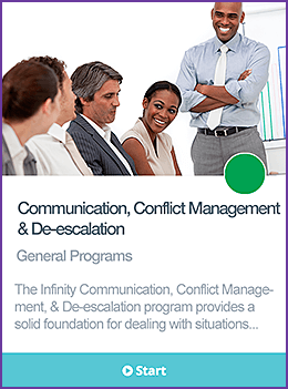 Communication, conflict management, and de-escalation course card.