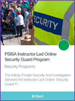 Private Security and Investigative Services Act Security Guard Course Course Card.